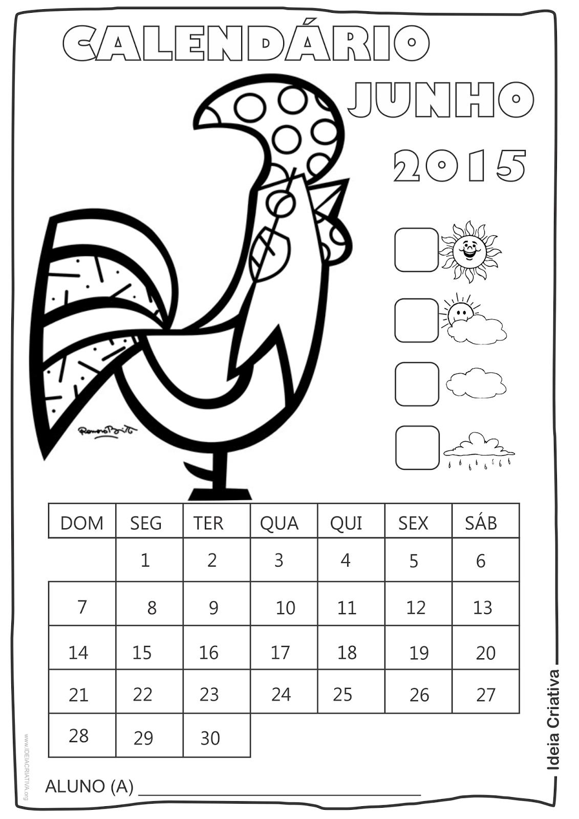Calendário  Maio 2015 com Desenho Galo de Romero Britto para Colorir