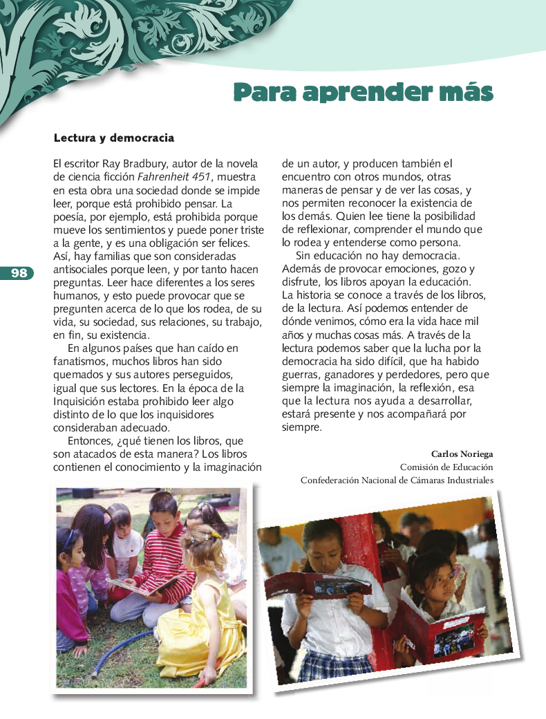 Para aprender más - Formación Cívica y Ética 3ro Bloque 5 2014-2015