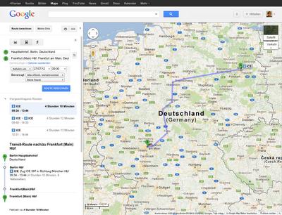 Google Maps - Mit Google Transit auch Bahn-Routen berechnen. Hier: Vom Berliner Hauptbahnhof nach Frankfurt