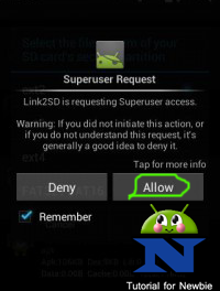 Link2SD asking SuperUser permission
