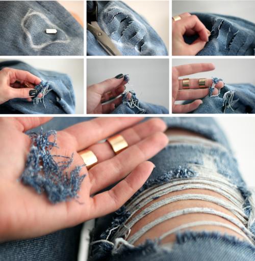 Как джинсы сделать рваными в домашних условиях пошагово