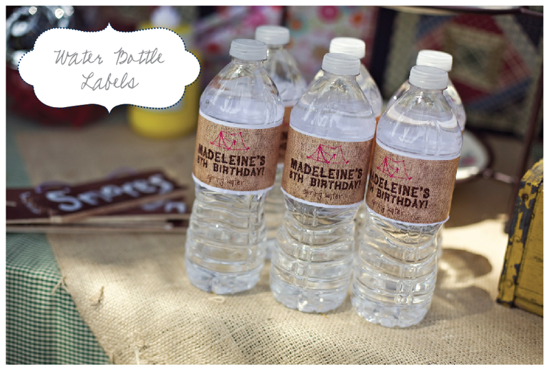 Nellie Design Customer Approved Camping Party Printables - Bachelorette water bottle label template
