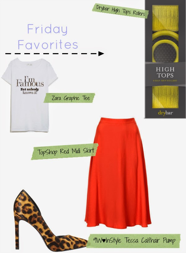Friday Favorites, Friday Faves, Boston, Boston Blogger, Boston Fashion Blog, Boston Fashion, Shopping, online shopping, Drybar High Tops Hair Rollers, Zara Graphic Tee, Zara I'm Famous But Nobody Knows It, TopShop Midi Skirt, Nine West Loves InStyle, Leopard Print Pumps, How To Wear a Midi Skirt
