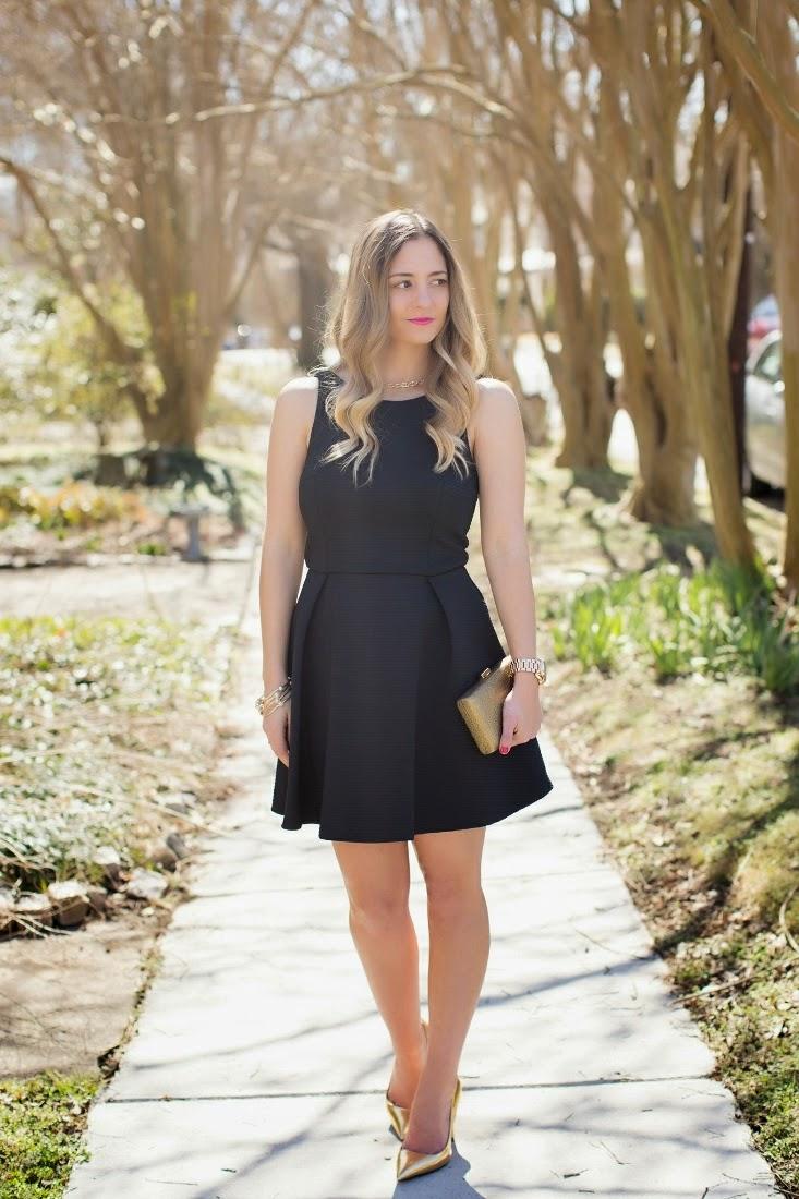 Black dress gold heels and pumps