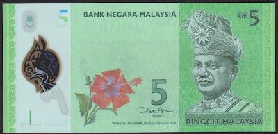 Malaysia 5 ringgit 2011 P#  new
