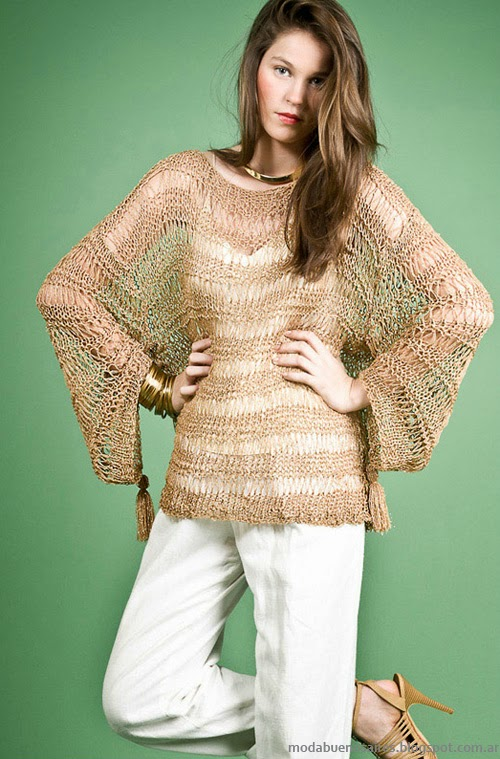 Moda Tejidos verano 2014. Agostina Bianchi Sweaters tejidos verano 2014