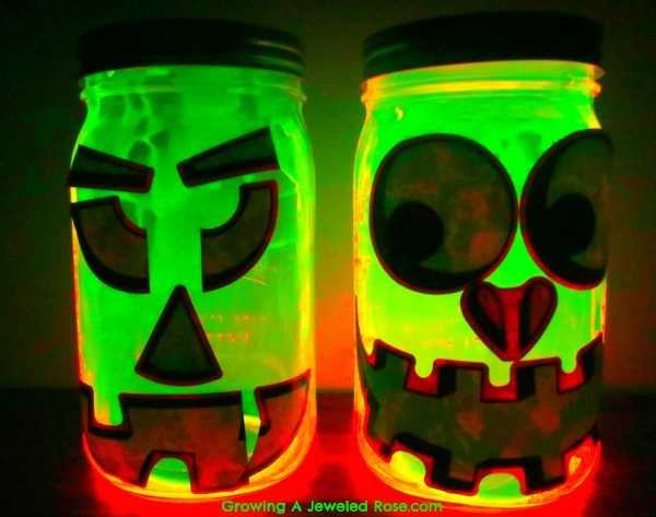 glowing pumpkin jars