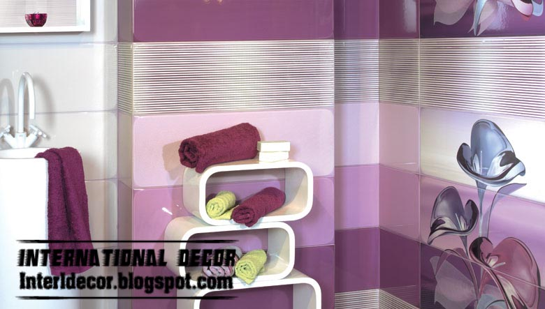 Wall tile designs for bathroom in purple color purple for Purple bathroom tiles ideas
