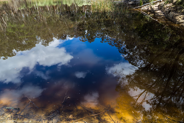 reflections of clouds on water