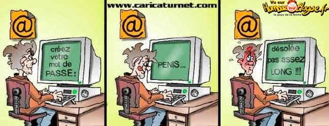 trois dessin humoristiques sur la creation d'un mot de passe jouant sur un jeu de mots sur la longueur et le mot penis
