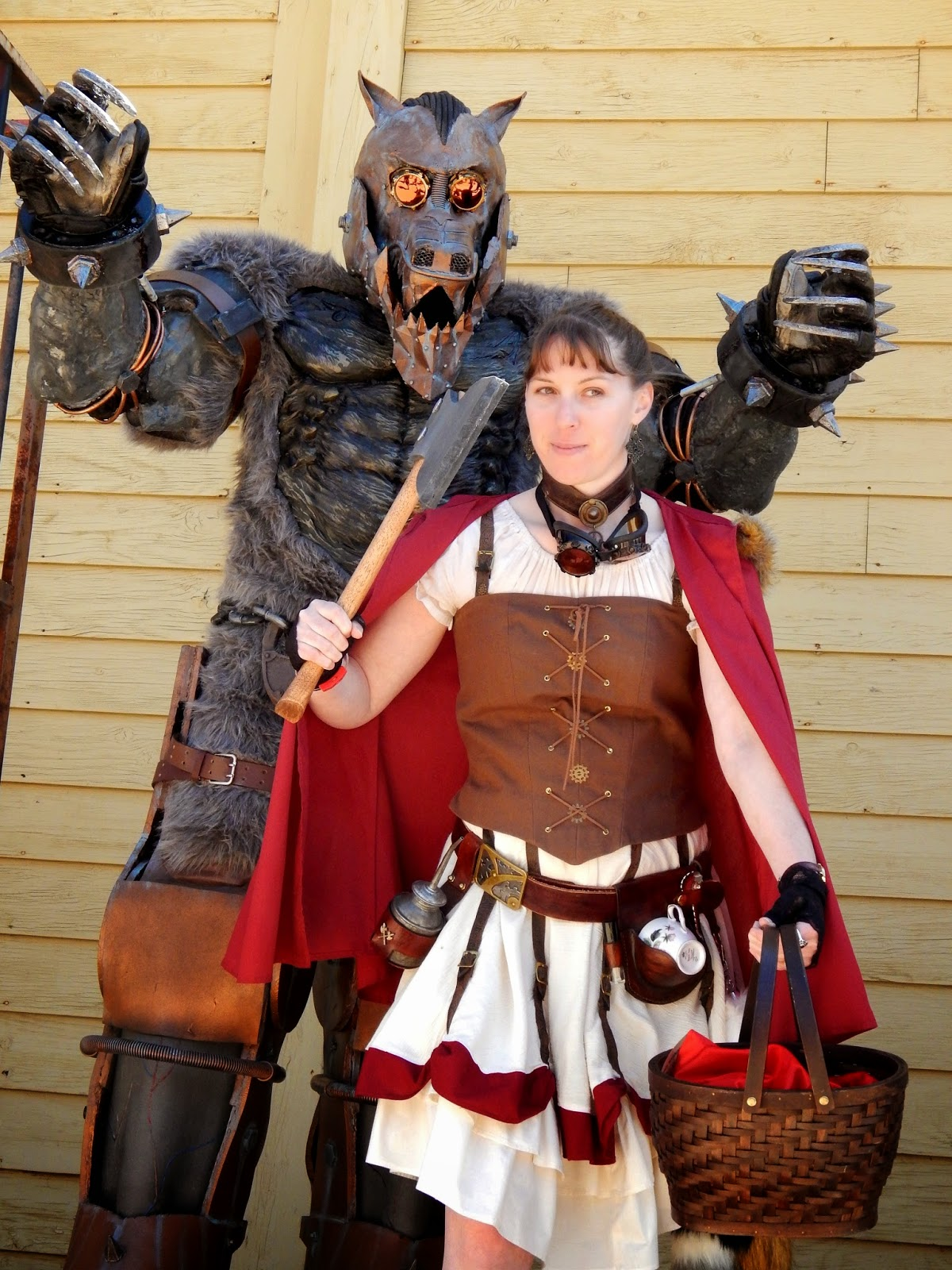 Wild Wild West Steampunk Con cosplay Red Riding Hood and Wolf