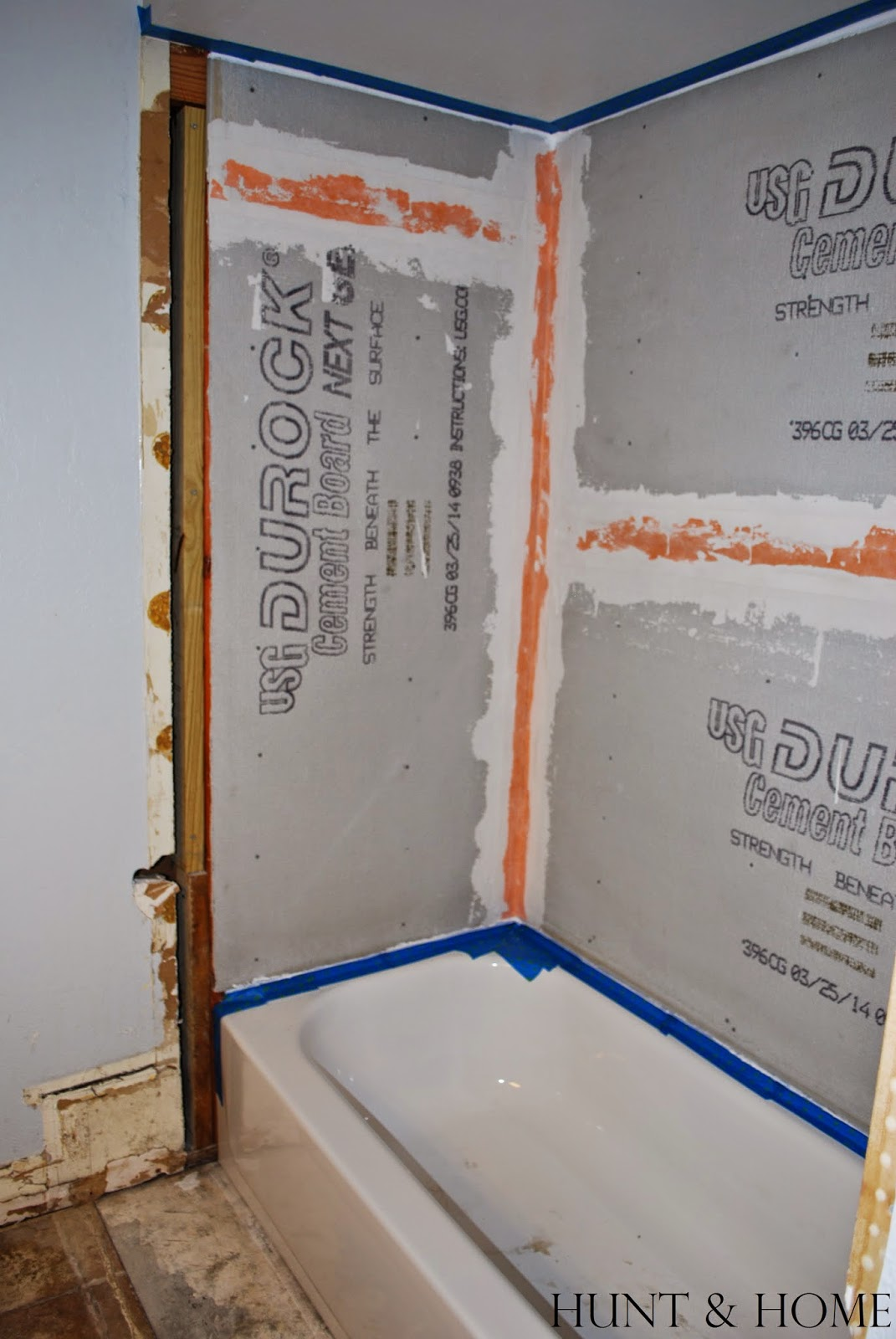 waterproof cement board seams in shower with kerdi tape