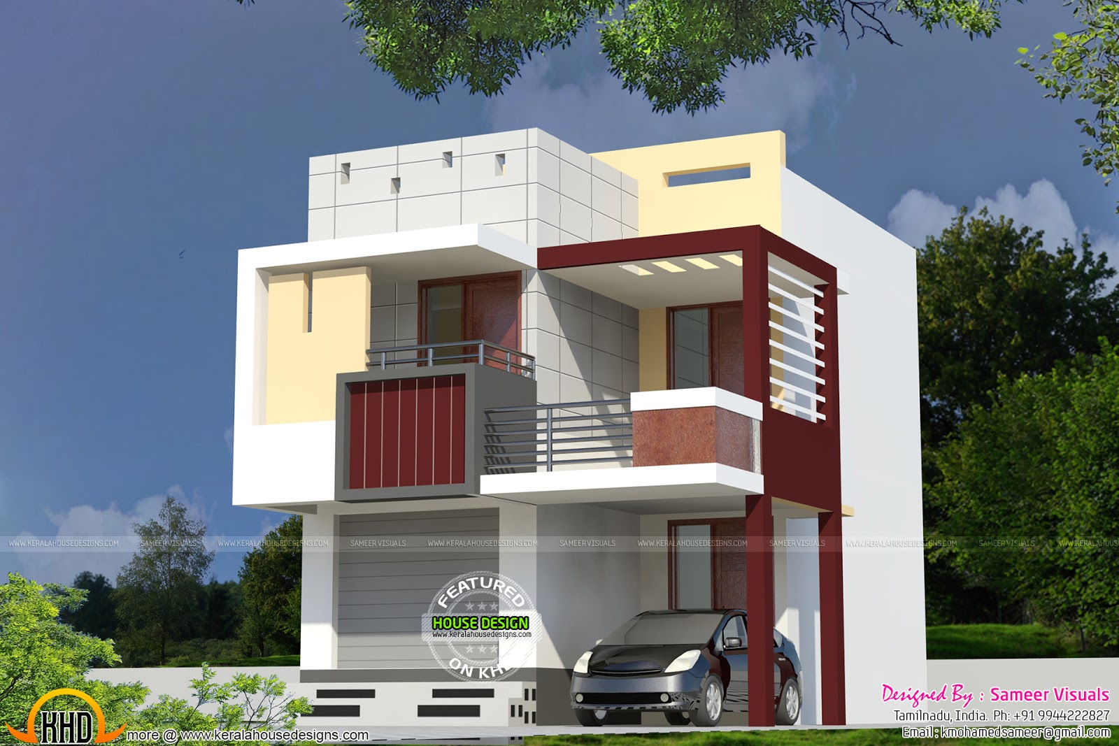 Small houses house elevation and 3d rendering on pinterest for Small indian house images
