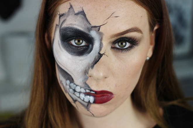 boohoo skeleton midi dress cracked skull halloween tutorial