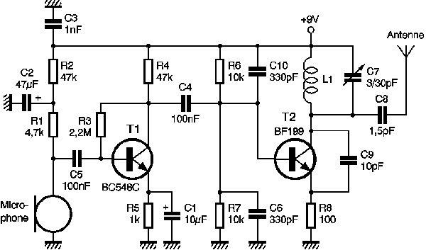 micro emetteur fm schema electronique