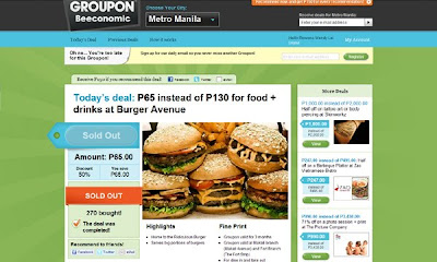 Groupon Philippines Burger Avenue deal