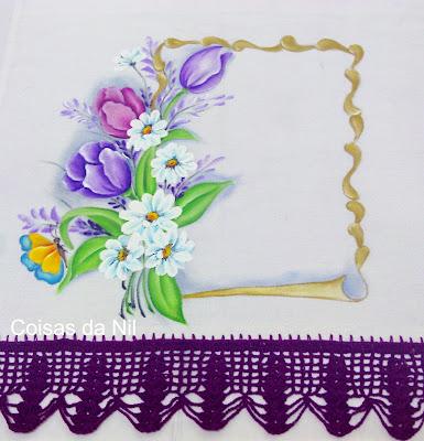 pergaminho com tulipas e margaridas