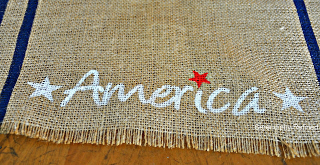 Quick Easy DIY 4th of July Patriotic No Sew Grain sack Stripe Stenciled Burlap Table Runner by Serendipity Refined