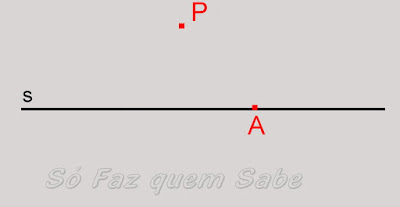 Desenho de uma reta com um ponto marcado sobre ela e outro fora dela
