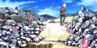 Screenshot from nichijou of Nakanojo visiting osorezan