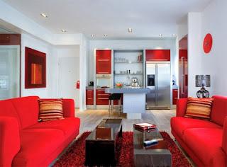 Kırmızı ve Kahverengi Salon Modelleri
