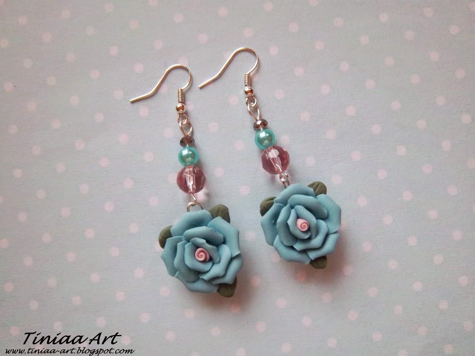 kolczyki z modeliny niebieskie pudrowe róże pastelowe