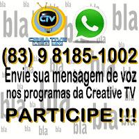 Creative TV libera mensagem de voz via WhatsApp em todos os programas, saiba como interagir