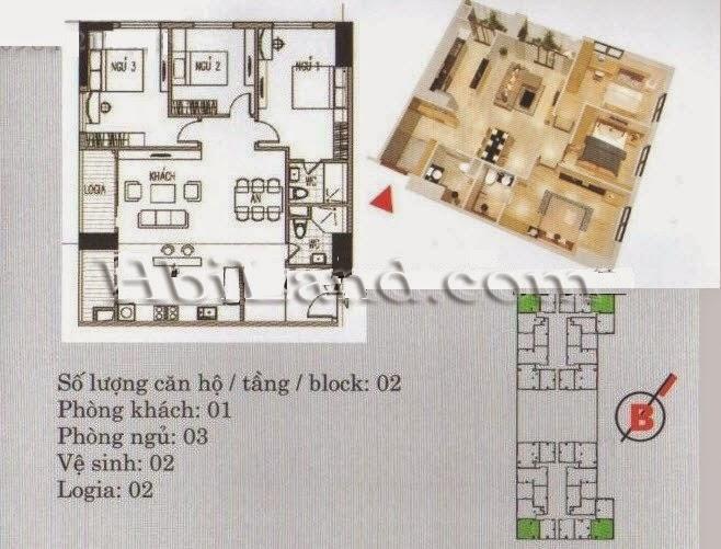 mặt bằng căn hộ 97.6m2 khu a