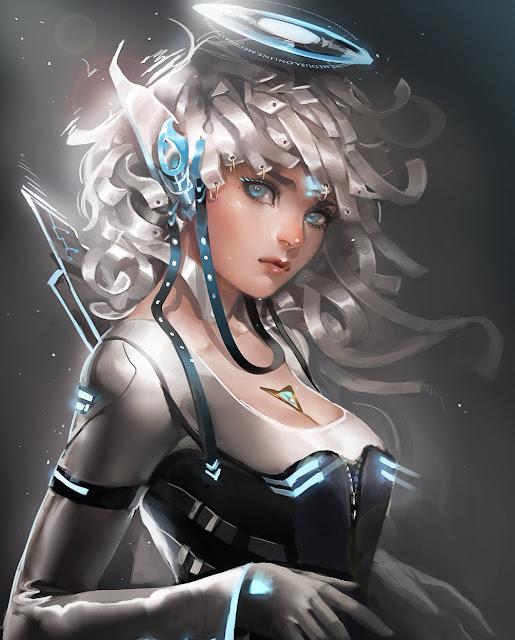 digital art elf,digital art futuristic,digital art girl