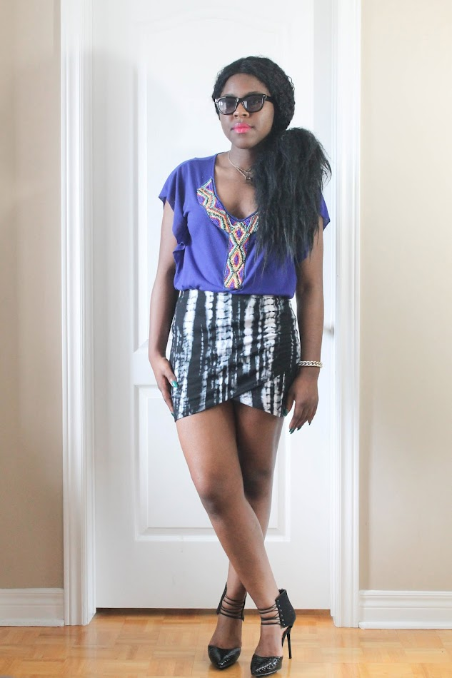tie dye skirt, monochrome, canadian fashion blogger, personal style blogger, fab candy clothing, shoedazzle