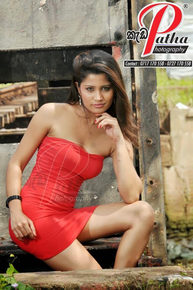 Oshadi Himasha red sexy wide legs