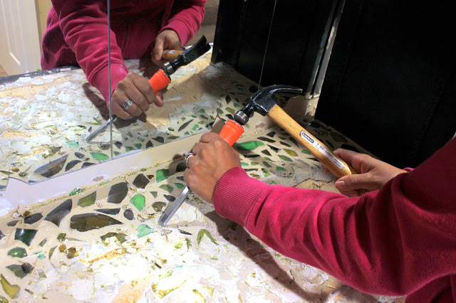 removing glass counter mosaic
