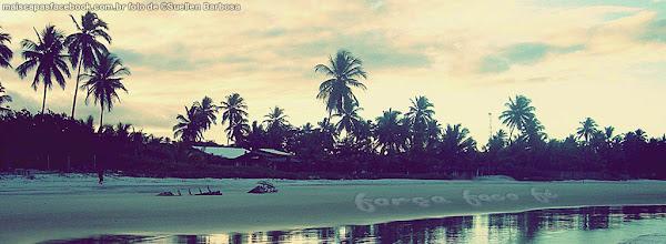 Capa para facebook paisagem por do sol no litoral bahia força foco e fé