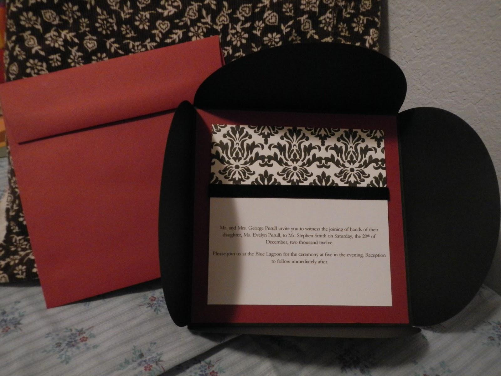 Hand Made Cards: Handmade Damask Wedding Invitation