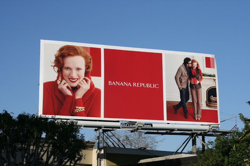 Red festive Banana Republic billboard