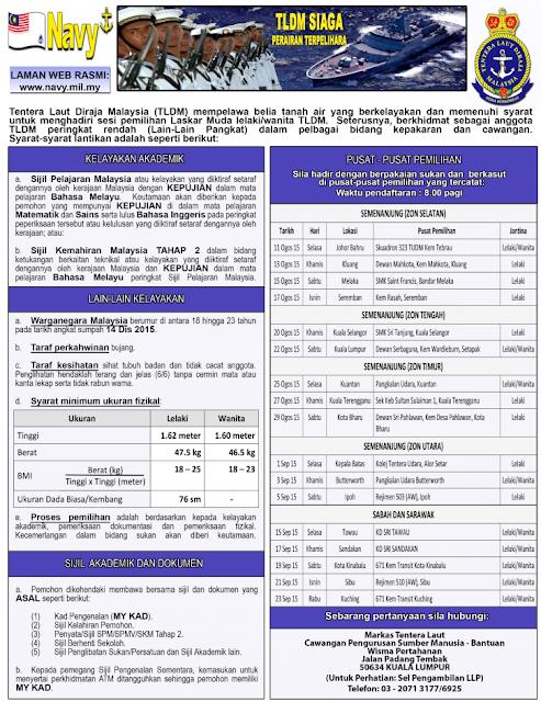 Jawatan kosoong Tentera Laut Diraja Malaysia (TLDM)