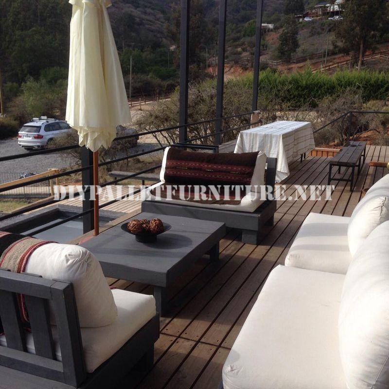 Mueblesdepaletsnet Set de muebles con palets para la terraza