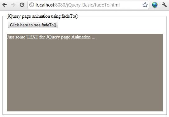 jQuery fadeTo() example