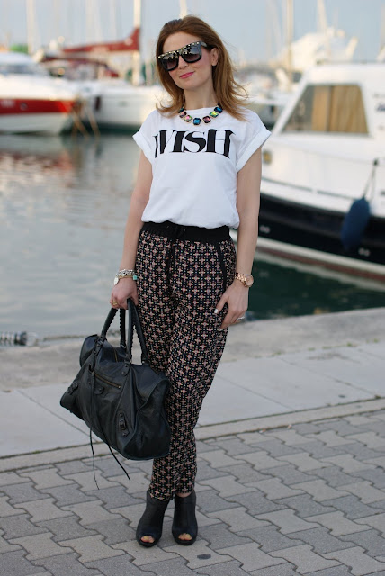 wish t-shirt, pyjama pants, Balenciaga bag, fashion and cookies