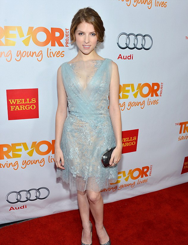 Anna Kendrick Looked Demure In A Lace Blue Dress