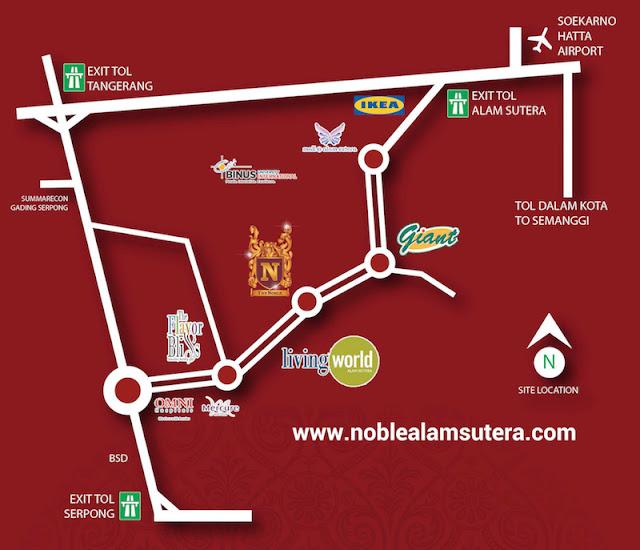 Peta Lokasi Apartemen The Noble Alam Sutera Serpong Tangerang