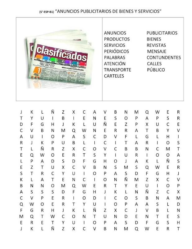 Sopa de letras de anuncios