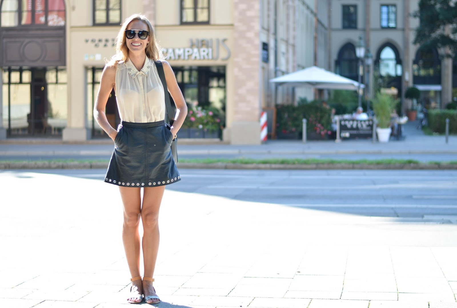 kristjaana mere nude top leather skirt summer outfit munich street style