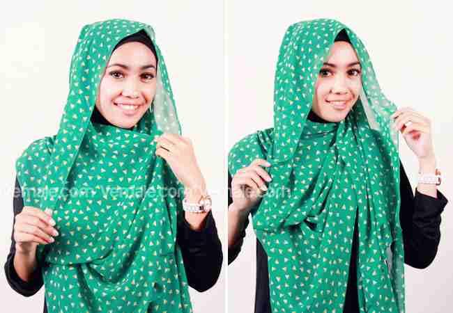 Tutorial Jilbab Pashmina Chiffon Motif