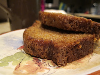 Thickly sliced pumpkin bread
