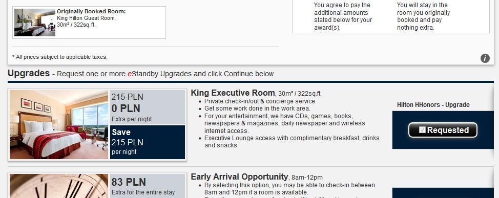 Hilton Warsaw Hotel - free executive room upgrade
