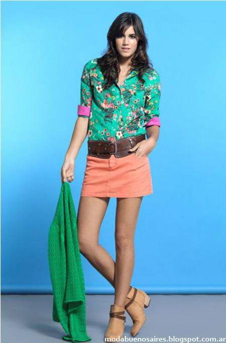 Camisa estampada de mujer Cardon moda 2014, minifalda de color Cardon ropa de mujer. Marcas argentinas.