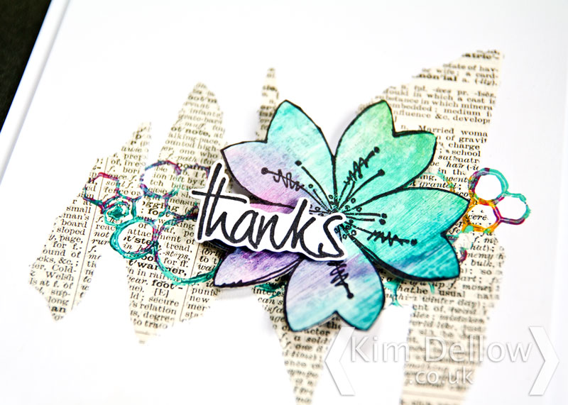 Close-up on a greeting card using products from PaperArtsy