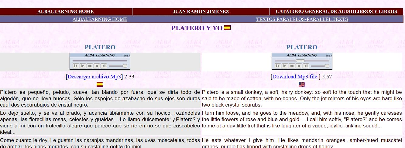 http://albalearning.com/audiolibros/jrjimenez/platero_001-sp-en.html