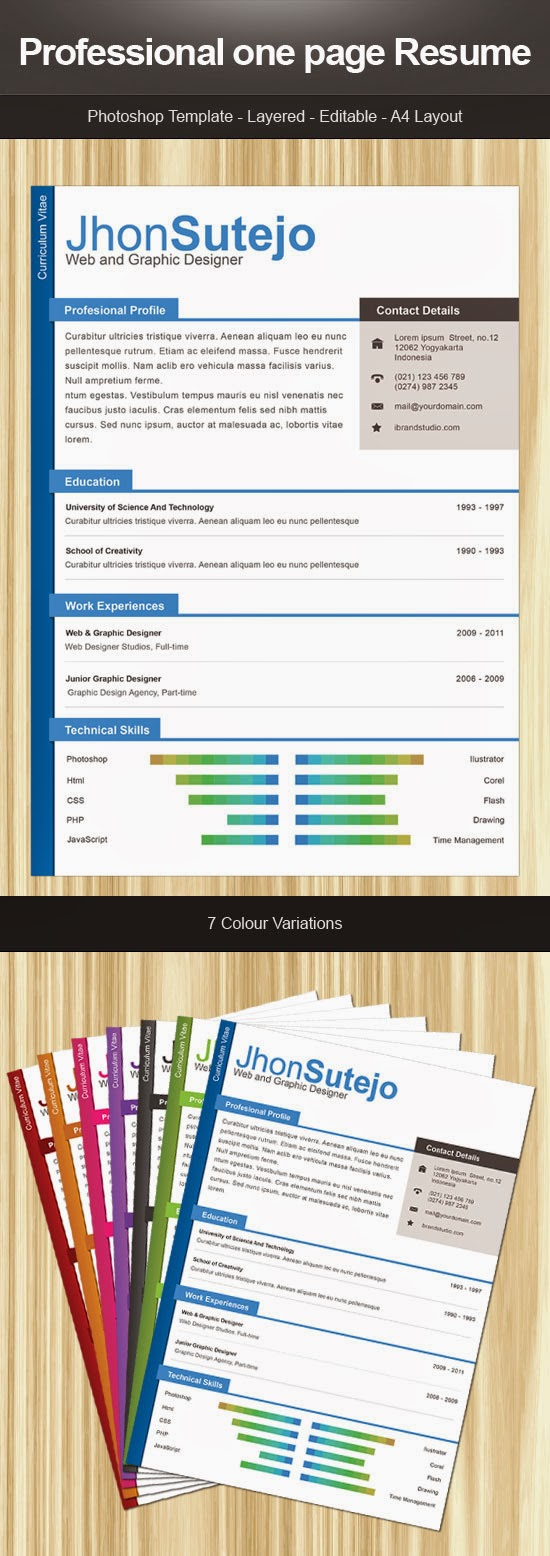 Free Resume Download Professional One Page Resume Psd